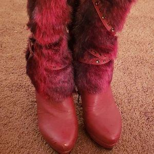 Mid calf fur boots